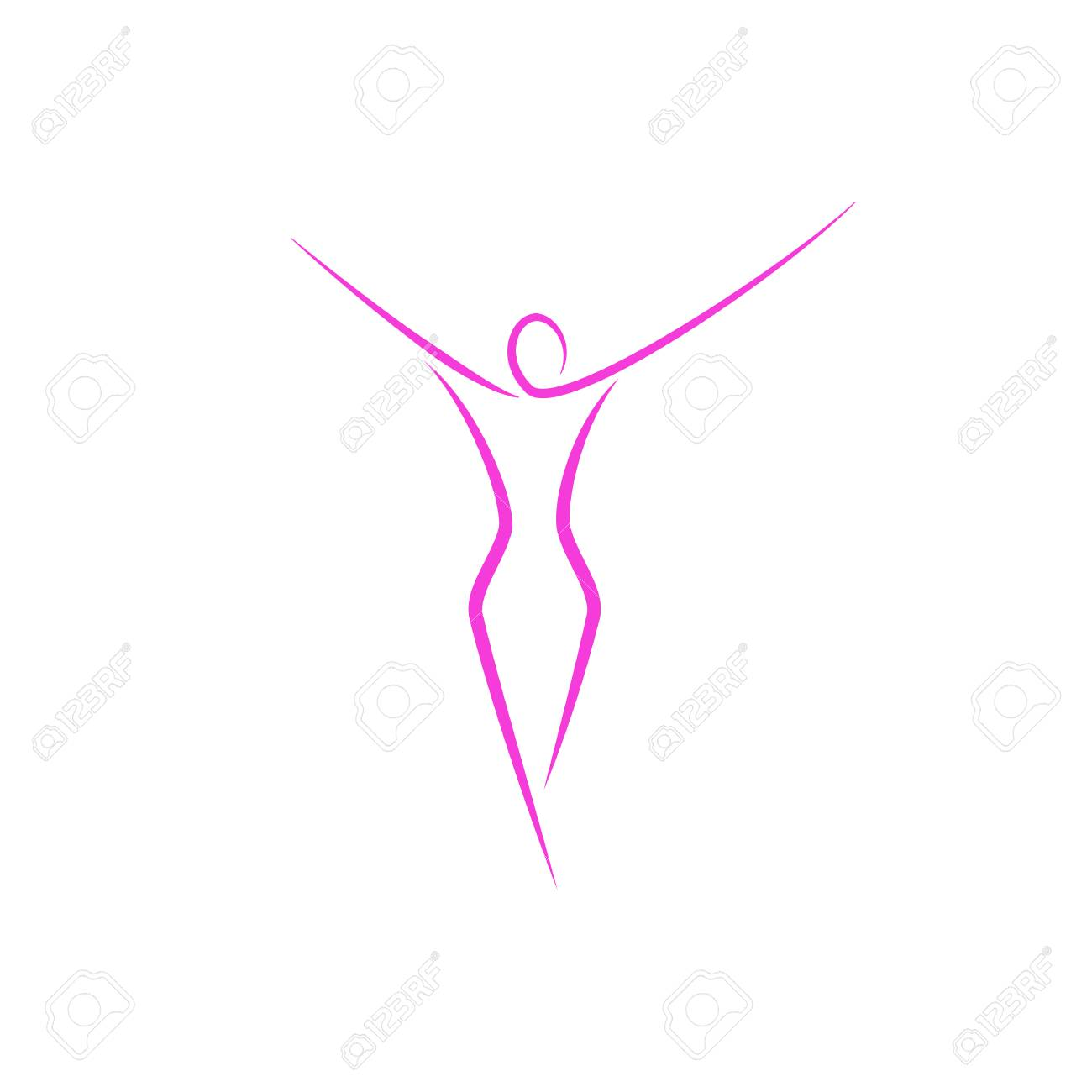 Silhouette of a slender girl logo, slim figure of a young attractive woman fitness model in a linear art style, a emblem template for a spa salon or fashion show - 96372046