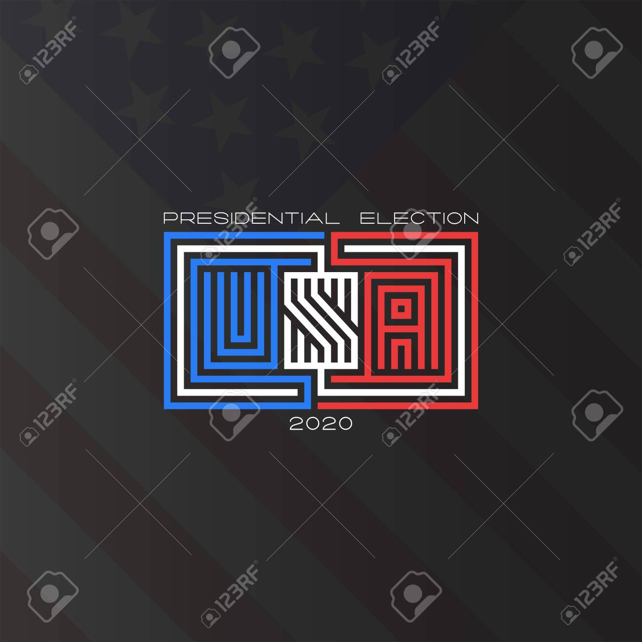 Usa Presidential Election 2020 Text American Flag Background