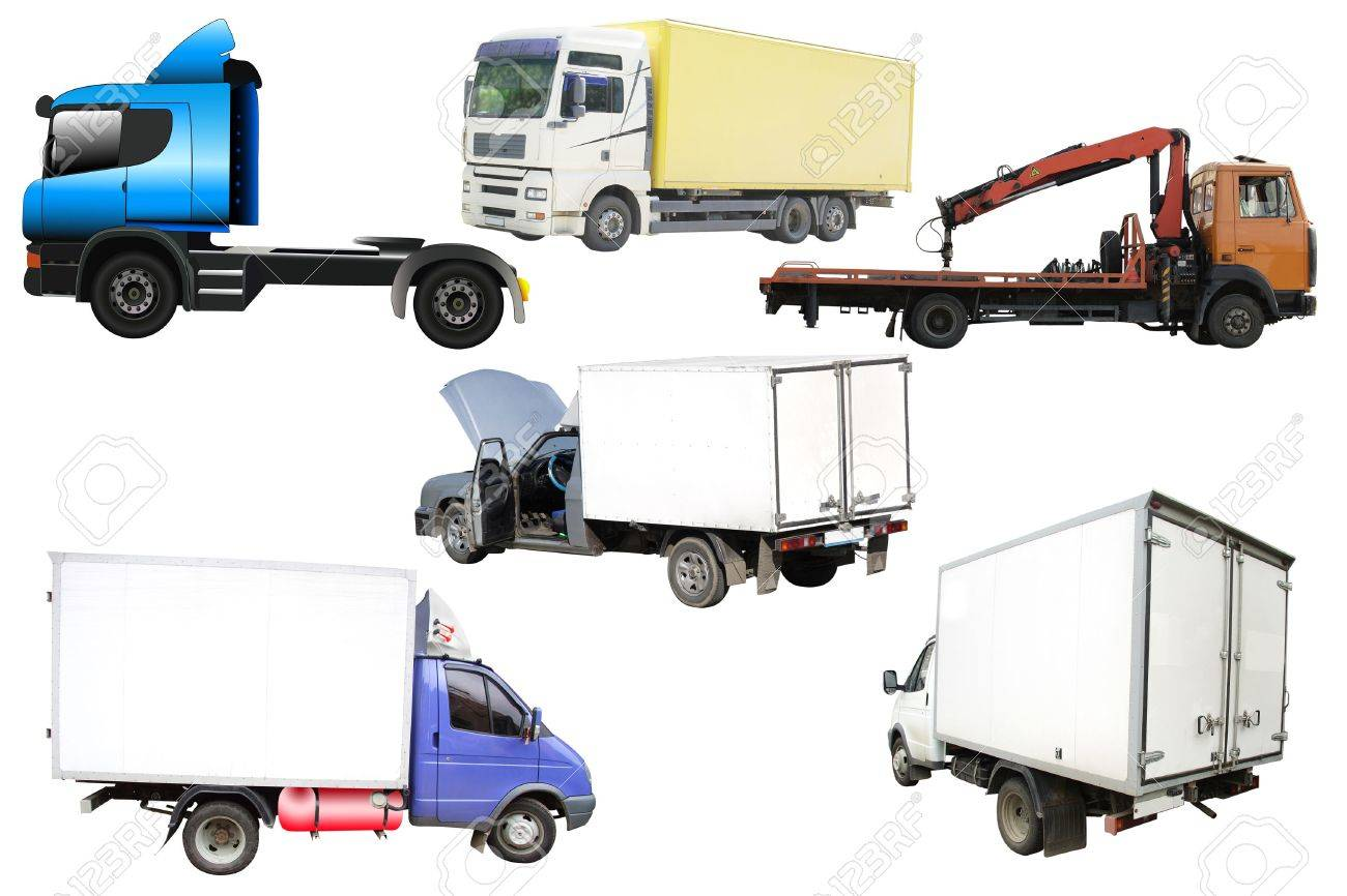 Different kinds of lorries under the white background Stock Photo - 4927752