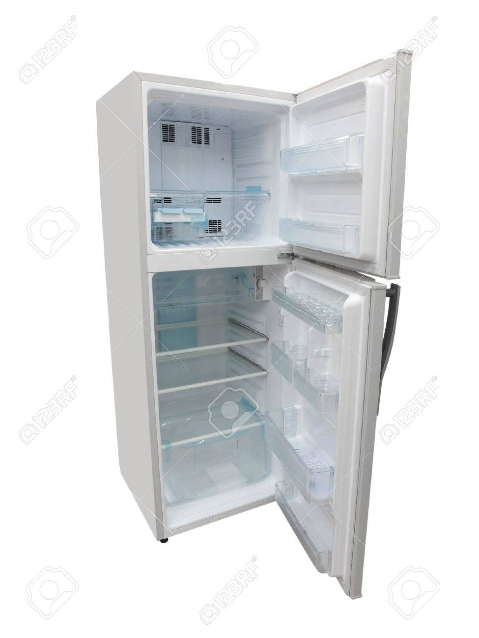 The image of an open refrigerator under the white background Stock Photo - 6161296