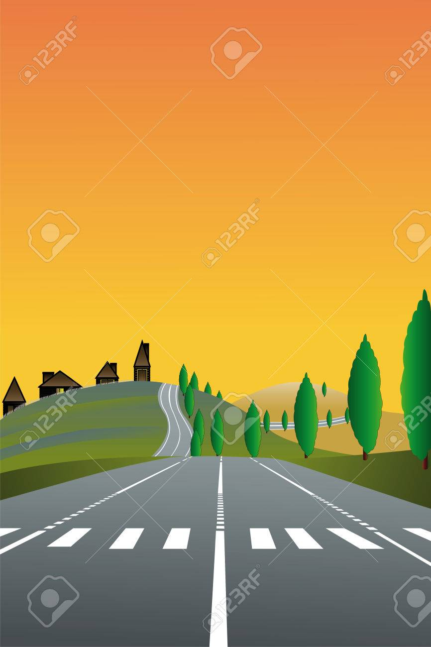 illustration of country landscape with the road Stock Vector - 8751757