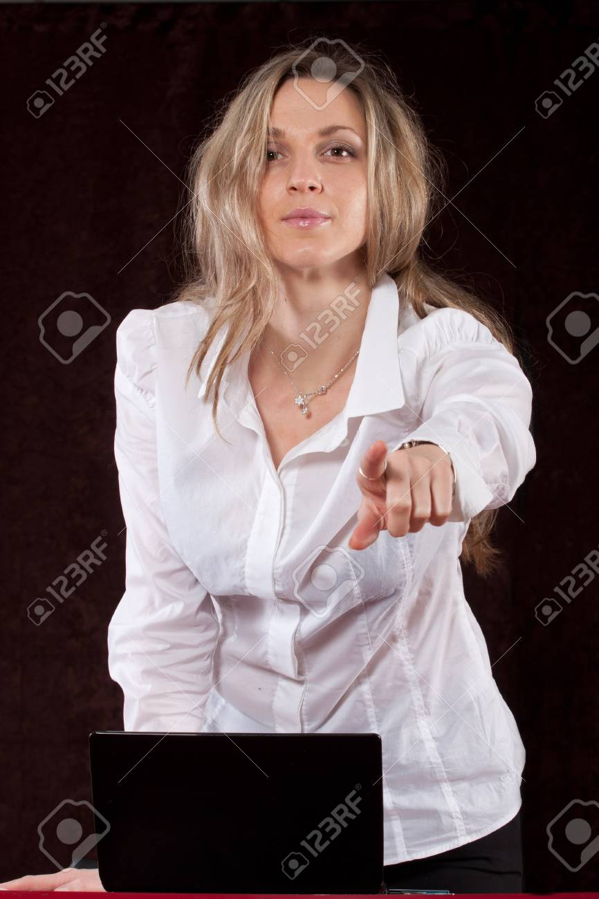The image of secretary points the finger Stock Photo - 12127216