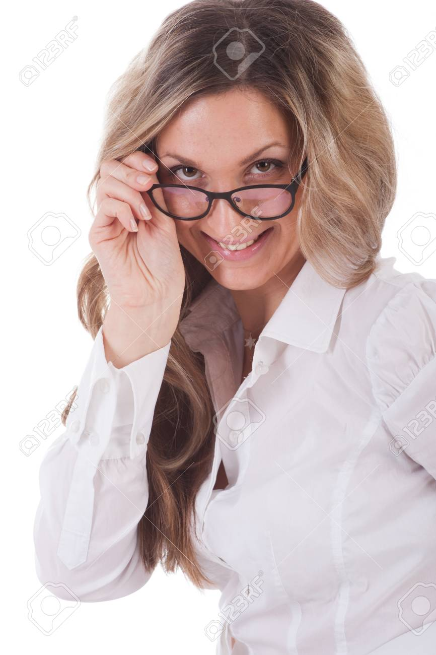 The image of girl with a glasses Stock Photo - 13156248