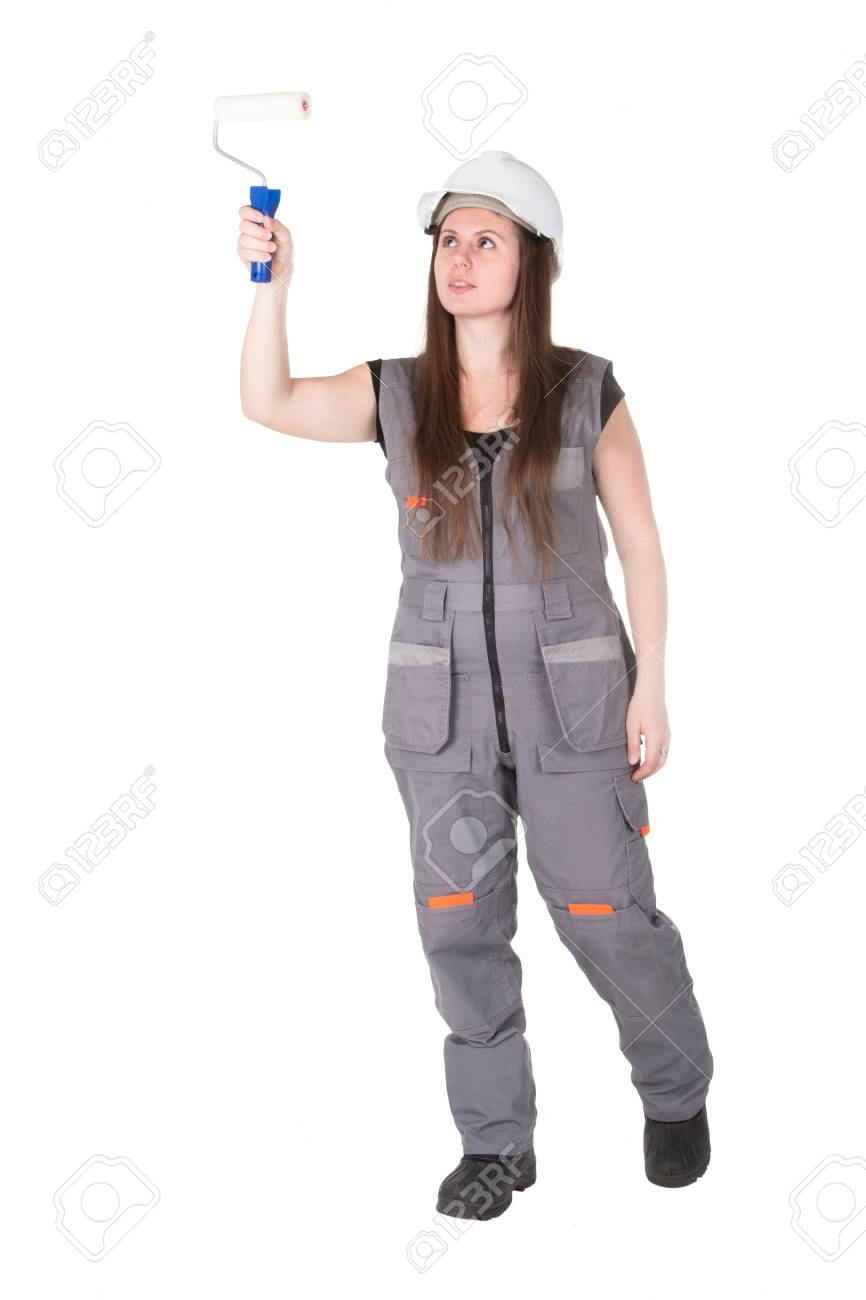 girl in an uniform with a roller Stock Photo - 13155440