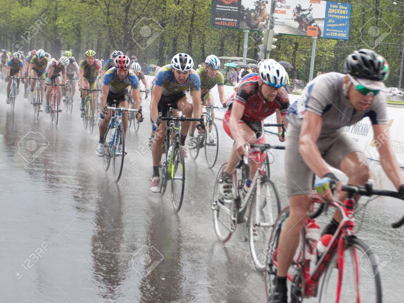 MOSCOW - MAY 8, 2012: Unidentified cyclists during the