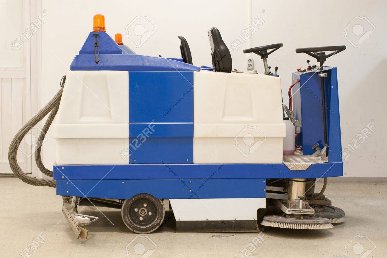 Floor Buffing Machine Under The White Background Stock Photo   13815986