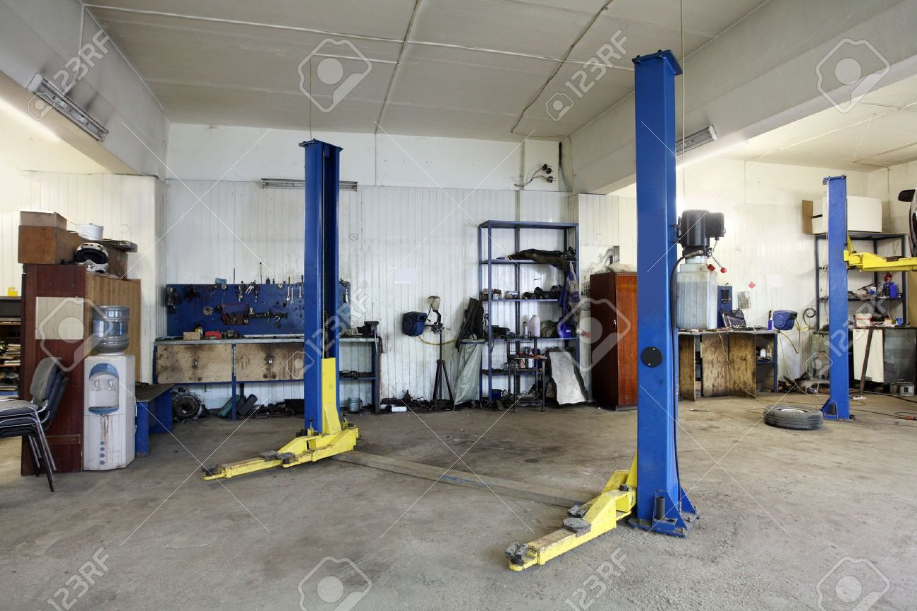 Image of a car repair garage stock photo picture and royalty free