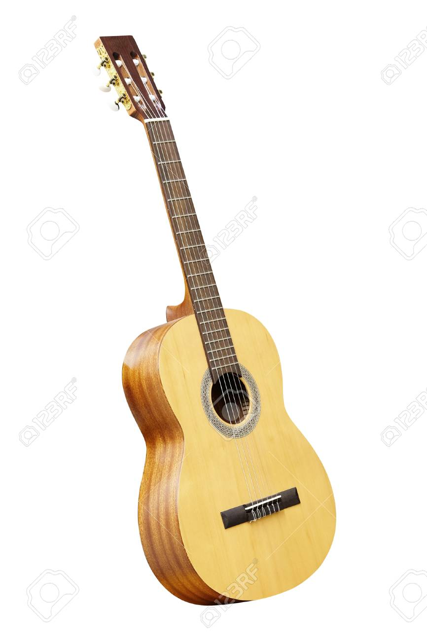 The Image Of Acoustic Guitar Isolated Under The White Background