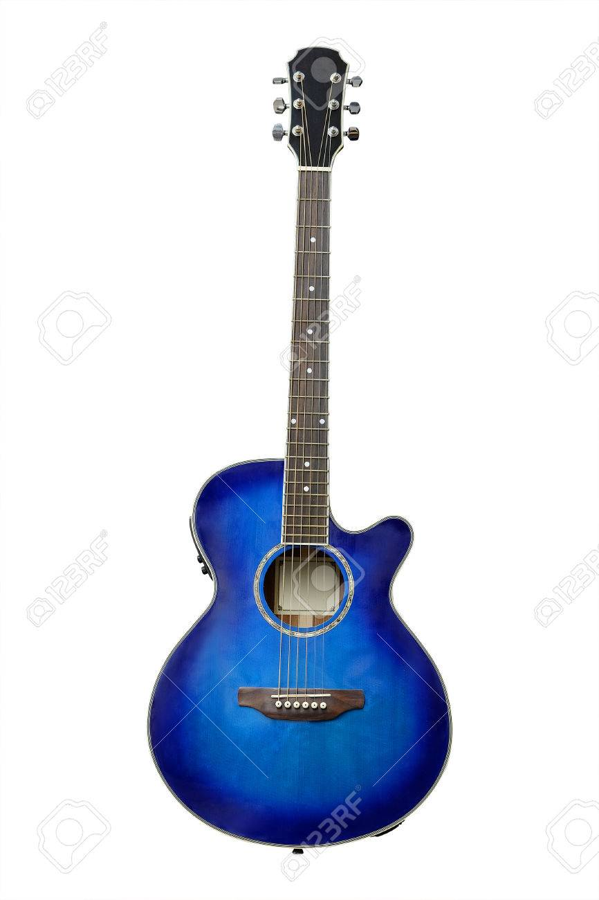 The Image Of Blue Acoustic Guitar Isolated Under The White