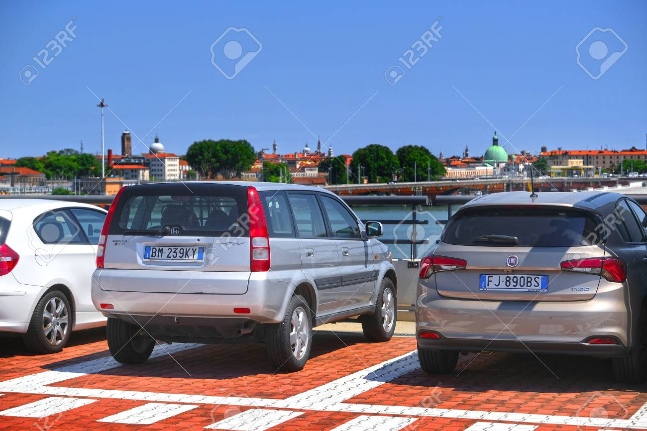 Venice, Italy, May, 26, 2017:car On A Parking In Venice, Italy ...