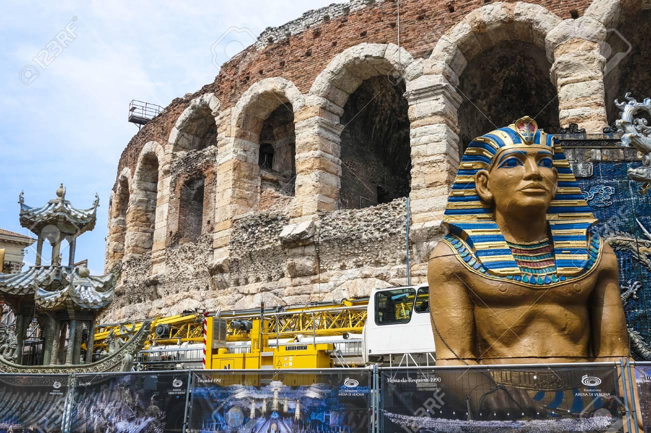 Verona, Italy - July, 15, 2018: scenery of arena de Verona, Italy - 106940650