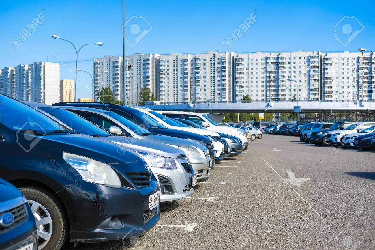 Moscow, Russia - September, 15, 2018: cars on the intercept parking near metro station Annino in Moscow - 108216216