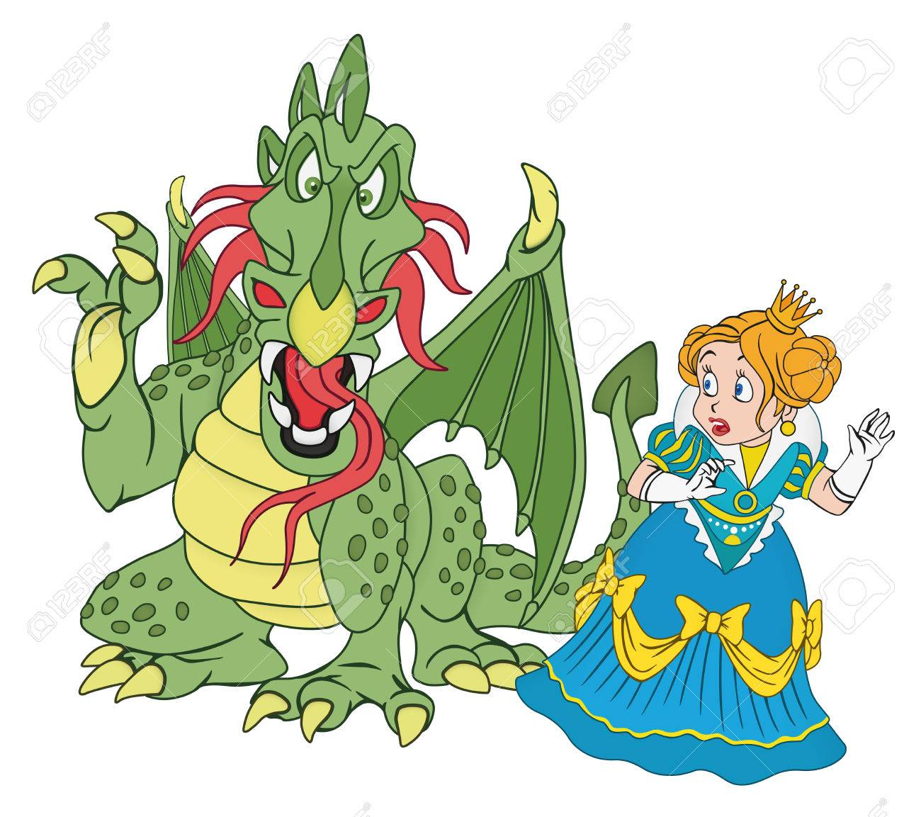 illustration of scared princess and angry dragon royalty free