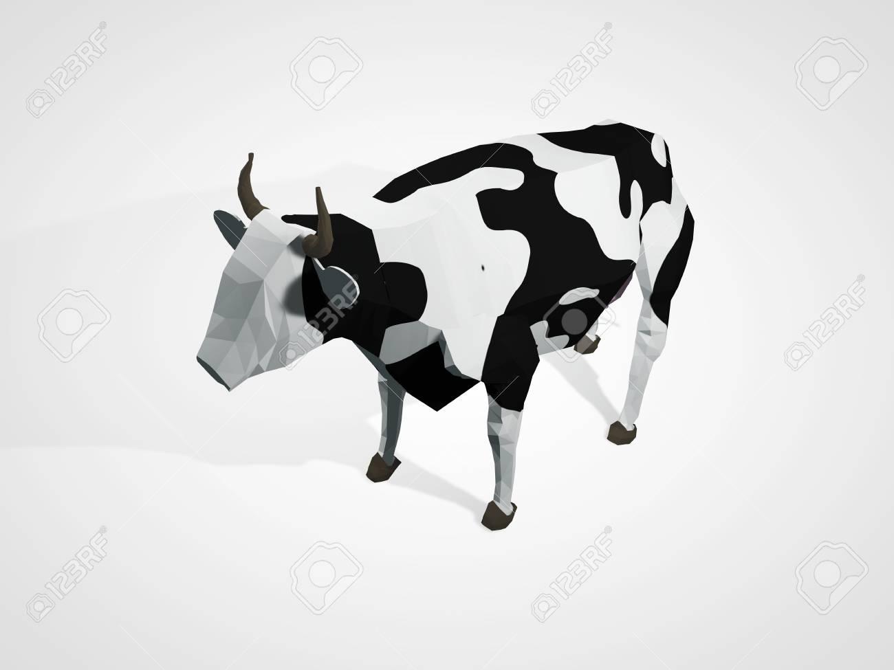3D Illustration Of Origami Cow Polygonal Geometric Style Standing Full Length Holstein Black