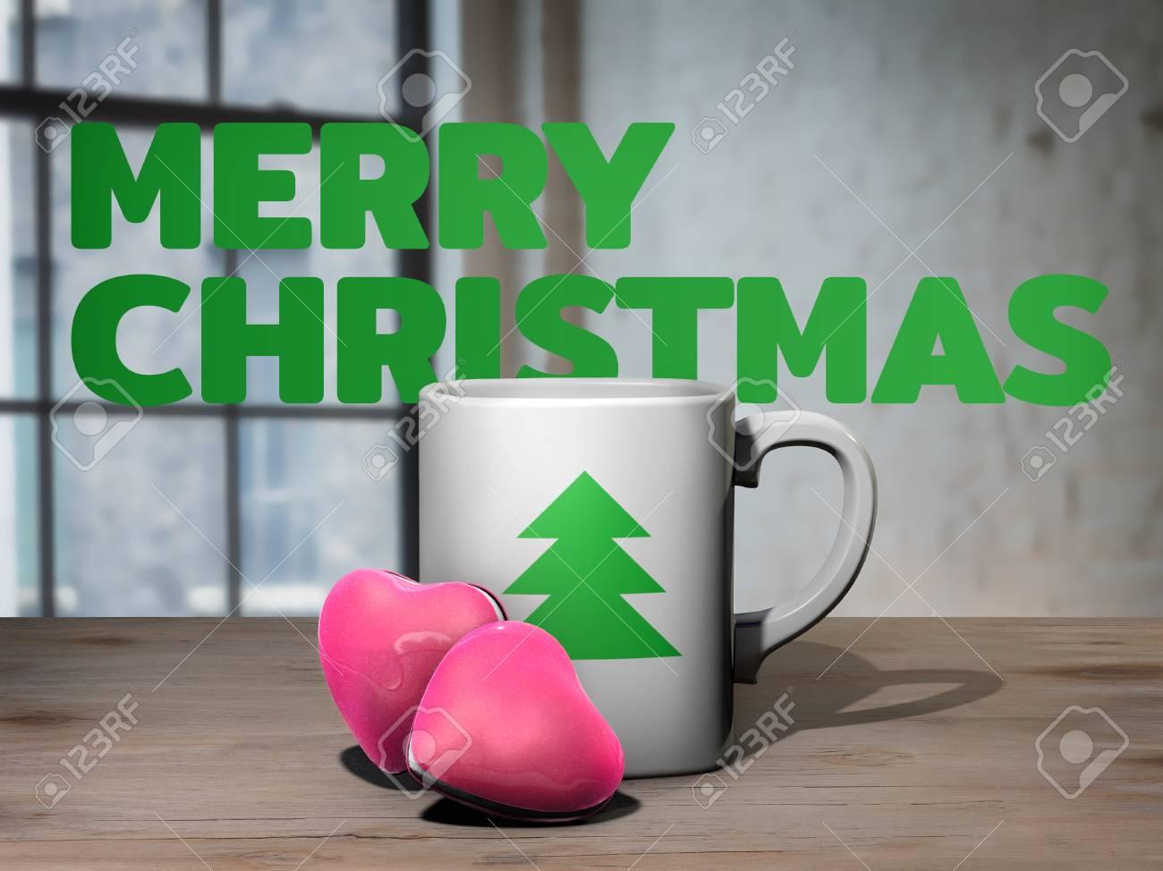 Guten Morgen Weihnachtskonzept Tasse Kaffee Und Herz Formte