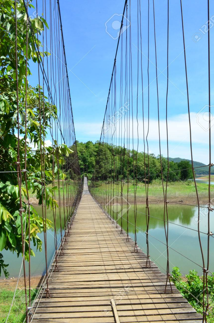 Wire Hanging Bridge With Wooden Pathway Stock Photo, Picture And ...