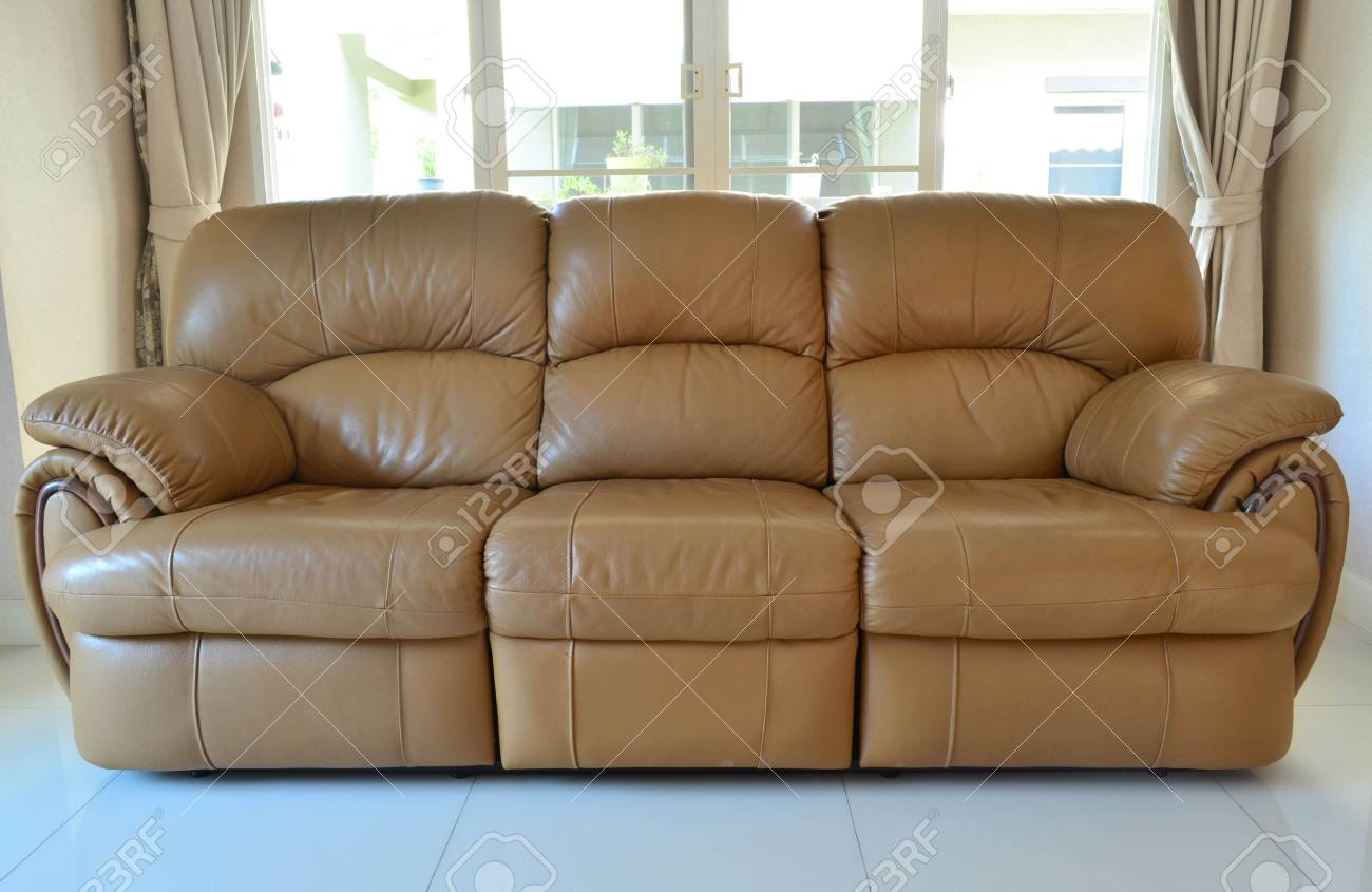 Modern Style Of Light Brown Comfortable Sofa Stock Photo, Picture ...