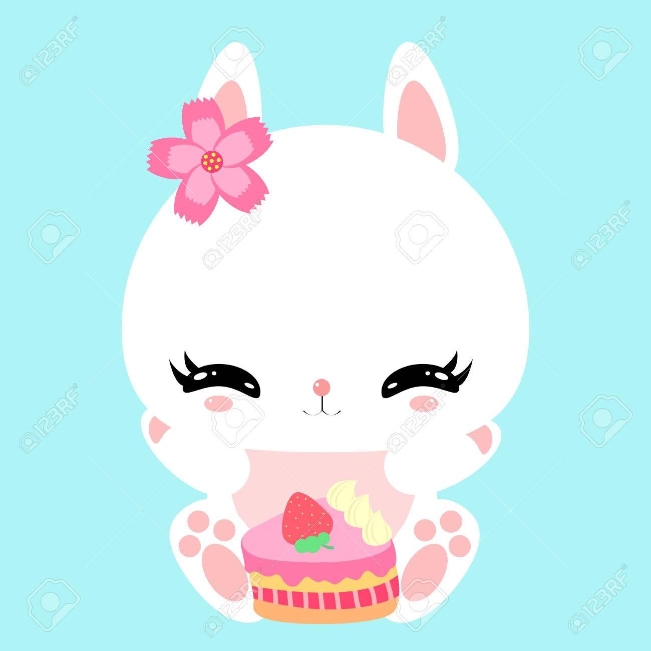 Netter Kleiner Hase Mit Einem Festlichen Kuchen Alles Gute Zum