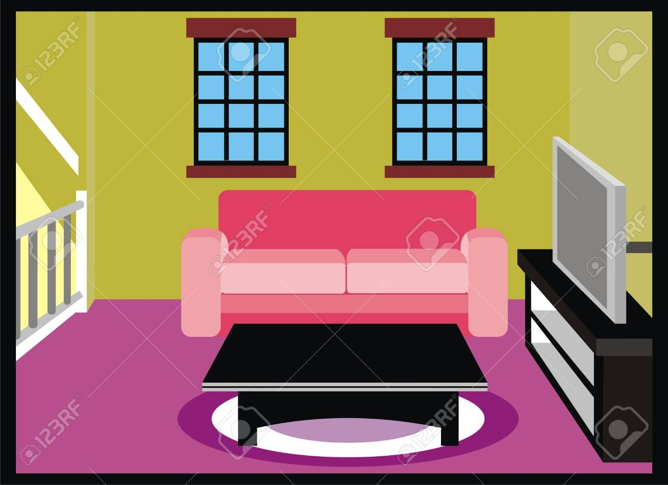 Vector Living Room With Furniture Tv Table Sofa Couch Carpet Royalty Free Cliparts Vectors And Stock Illustration Image 71587494