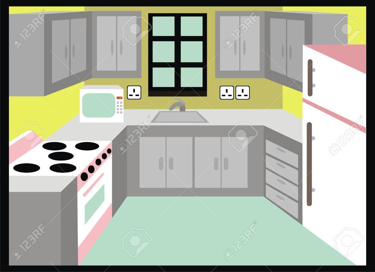 Vektor-Küche Einfaches Design Einschließlich Mikrowelle Kühlschrank ...