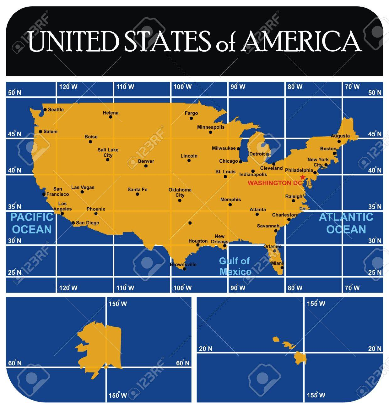 United States of America USA Map with all major cities
