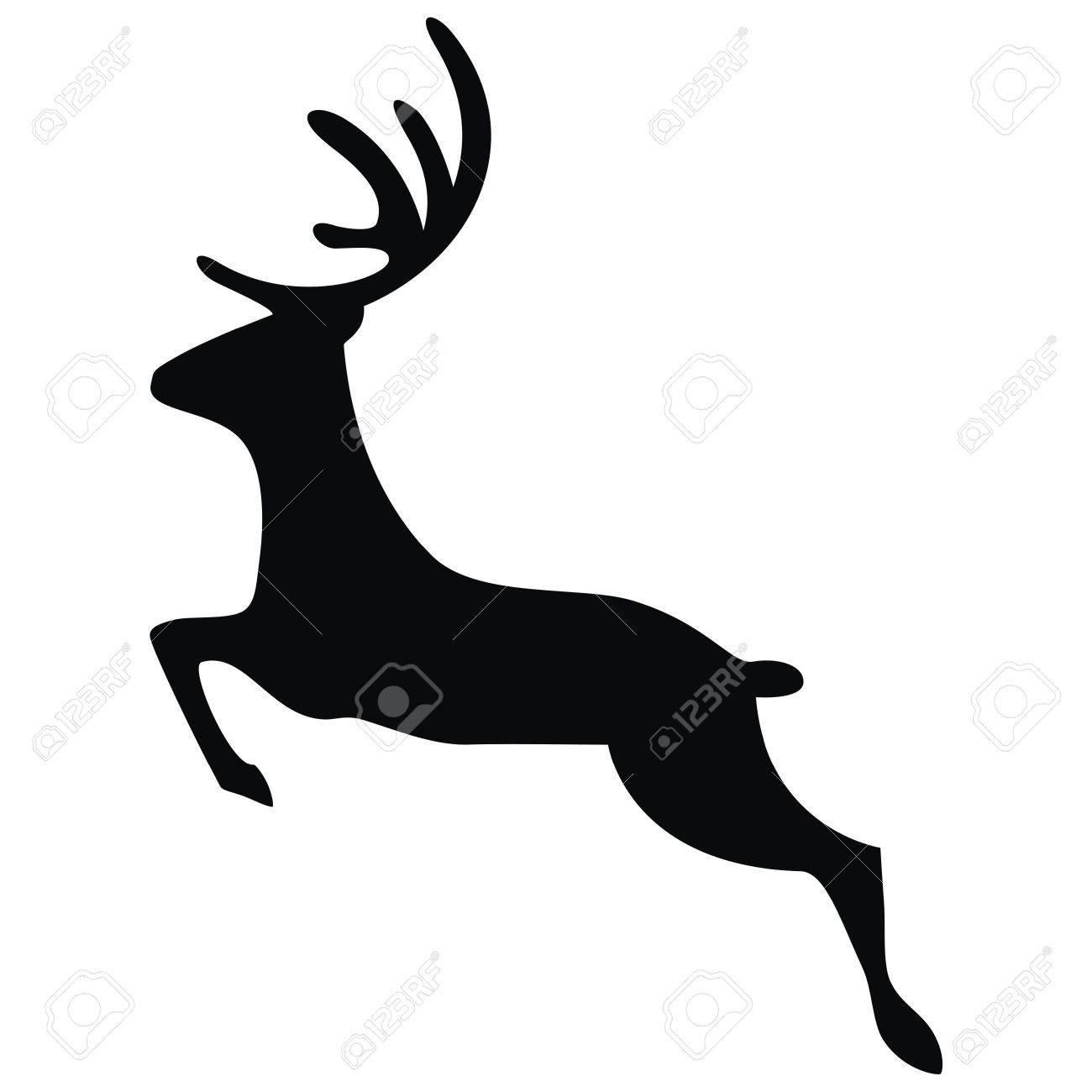 vector running deer silhouette stock vector 71588693