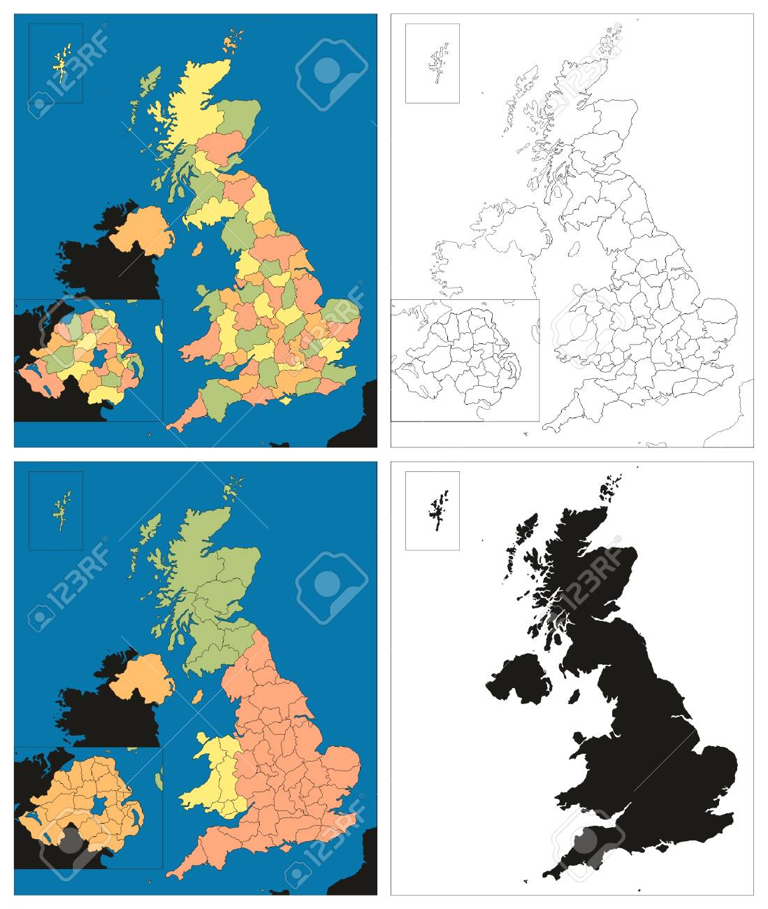Map Of England Provinces.Vector Kingdom Of Great Britain Island Uk Maps Collection Political