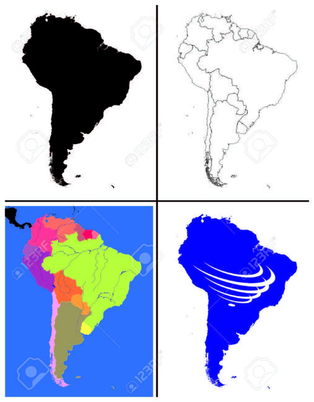 South America Maps Collection Silhouette Political Line Art