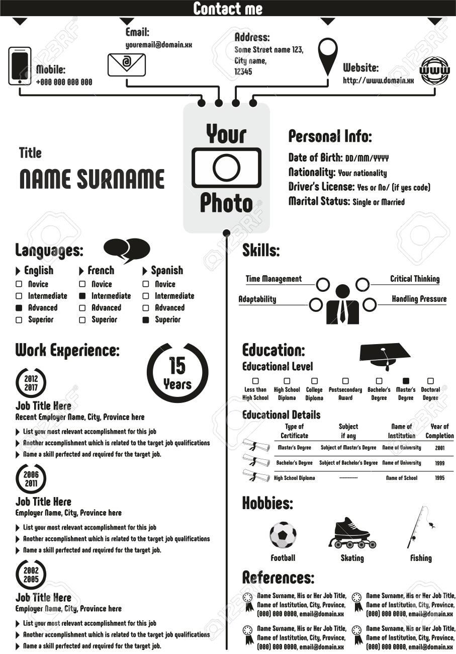 Cv Curriculum Vitae Resume Template Infographic Modern Basic
