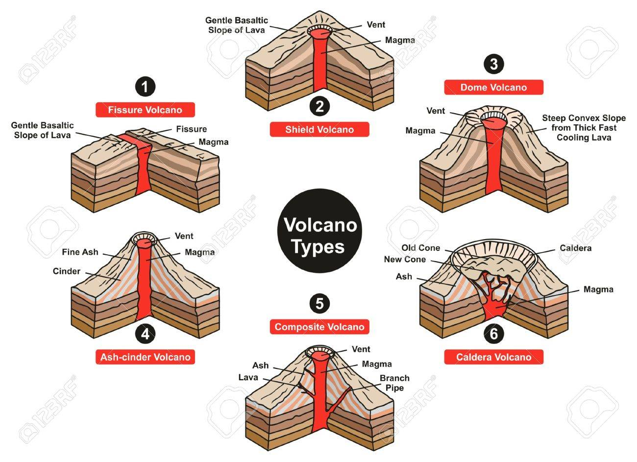 Volcano Types Infographic Diagram including fissure sheild dome ash cinder composite and caldera with all parts vent slope magma lava for geology science and natural disaster education - 80631975
