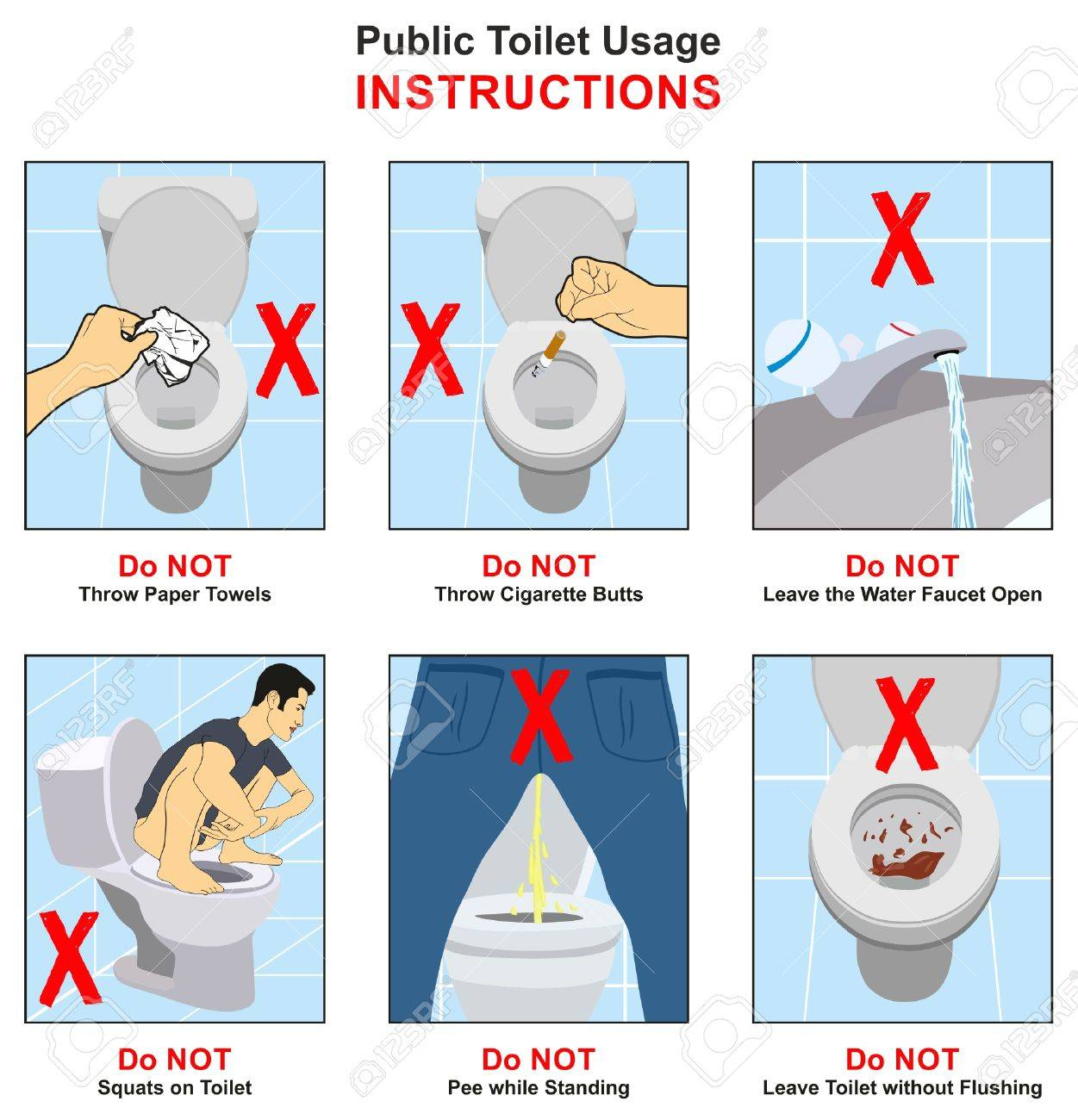 public toilet usage instructions infographic diagram showing things that  are prohibited with creative conceptual drawing for