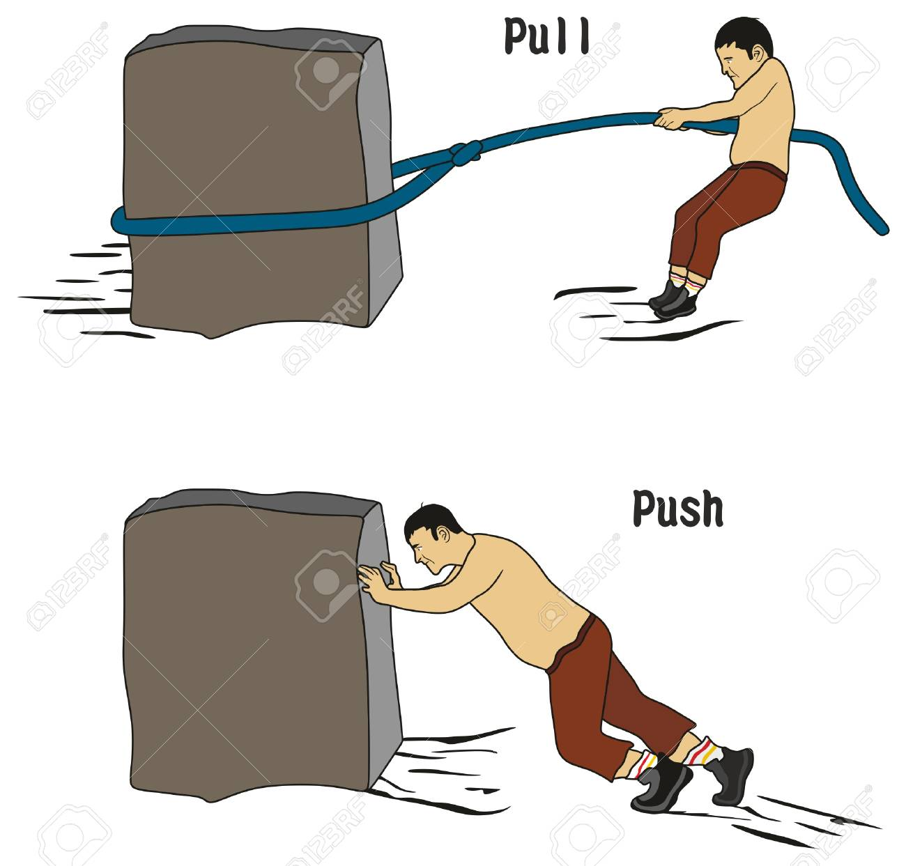 Pull and Push Concept for education conceptual drawing showing man pulling heavy stone using rope while other pushing it - 88190002