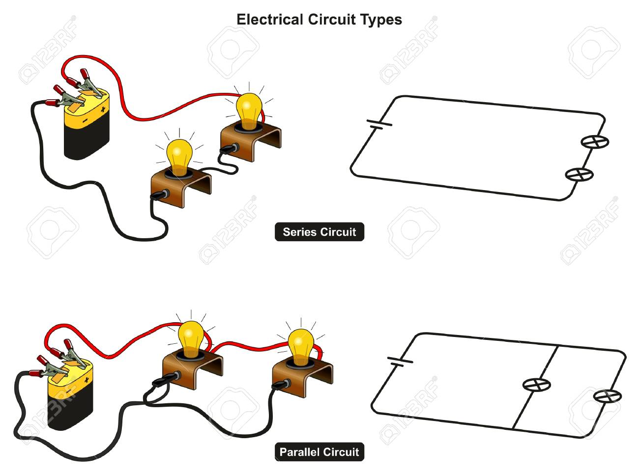 Circuito Paralelo : Tipos de circuitos eléctricos diagrama infográfico que muestra