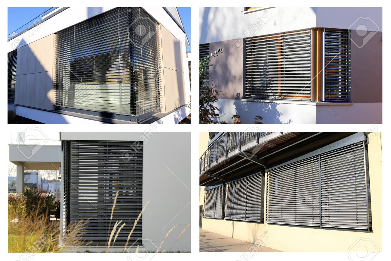 Windows with blinds exterior shot collage stock photo 69583474