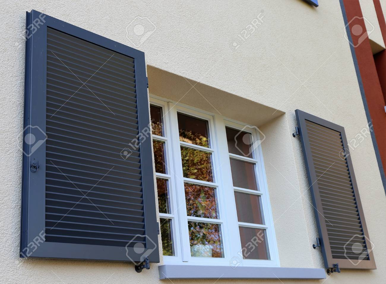 Window With Wooden Shutter Exterior Shot