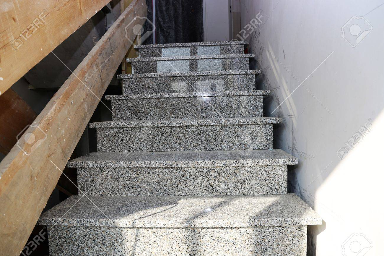 New Staircase With Granite Steps, Interior Shot Stock Photo   77577059