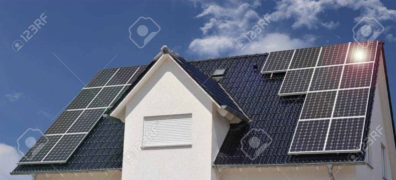 Roof with solar panels - 77455213