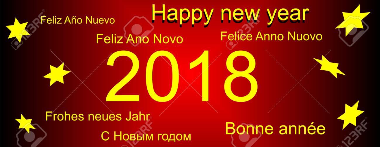Frohes Neues Jahr Grüße In Verschiedenen Sprachen Lizenzfreie Fotos ...
