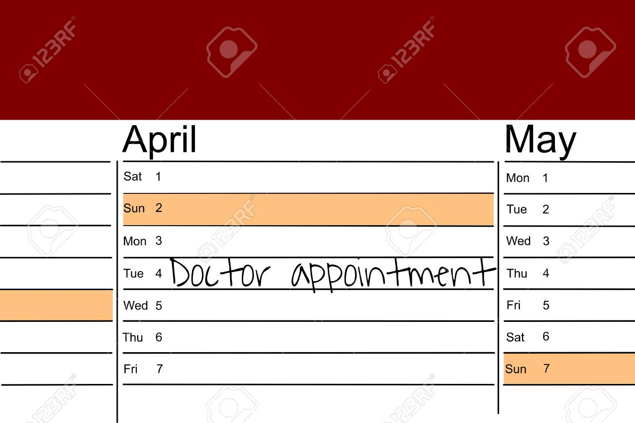 calendar with handwritten memo for medical check up stock photo
