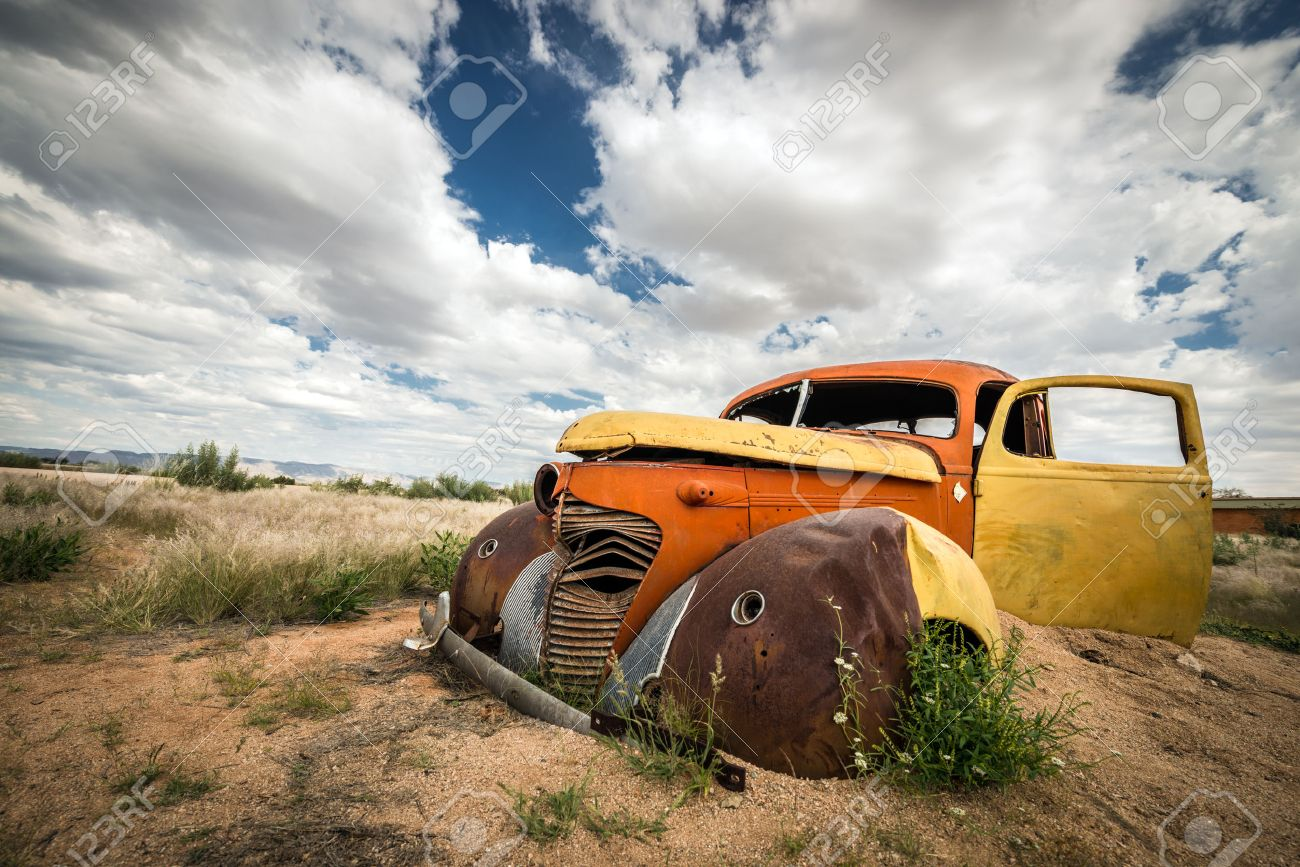 Scrap Vintage Car In The Desert In Namibia Stock Photo, Picture ...