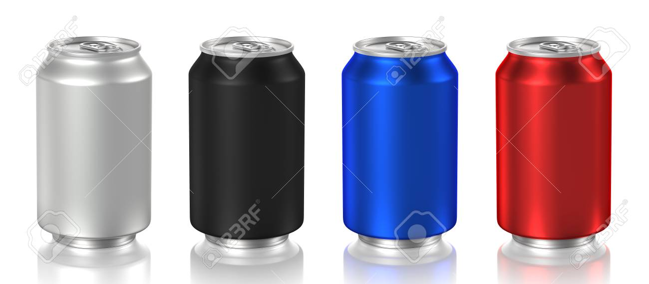 aluminum cans isolated on white background, 3D rendering - 90570459