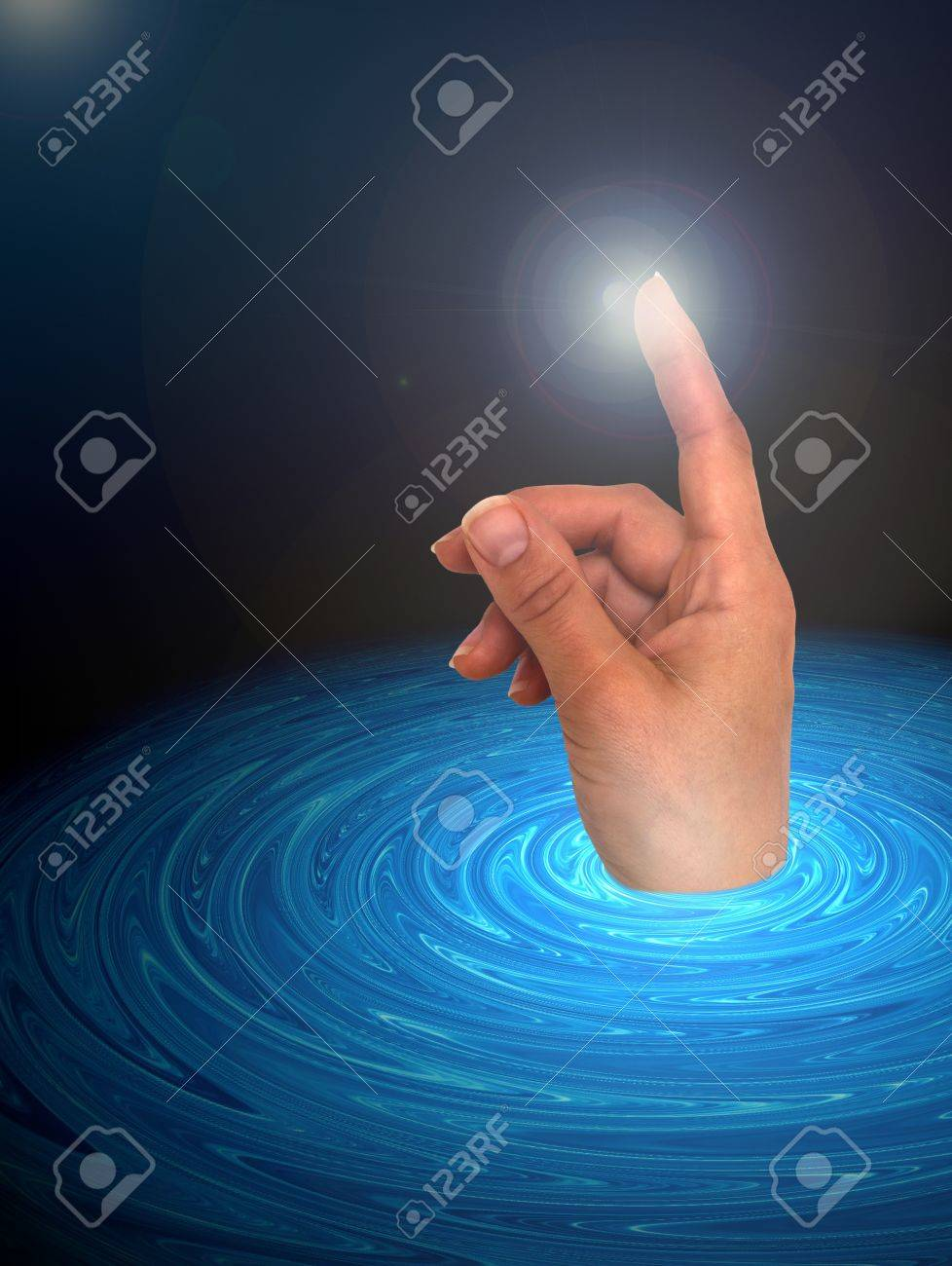 Touch the space abstract background Stock Photo - 13753250