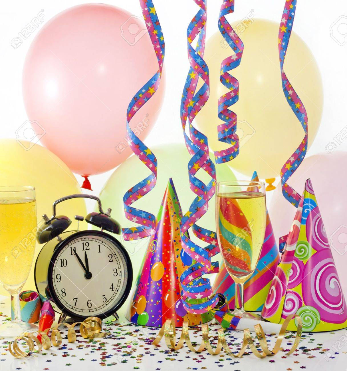 New year party with clock balloons champagne and clock Stock Photo - 14342610