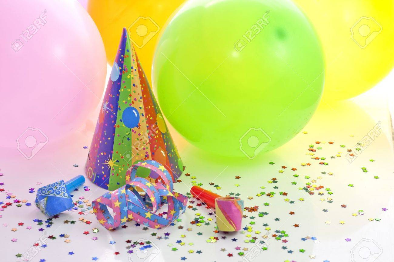 colorful party birthday new year background with balloons stock photo 14586778