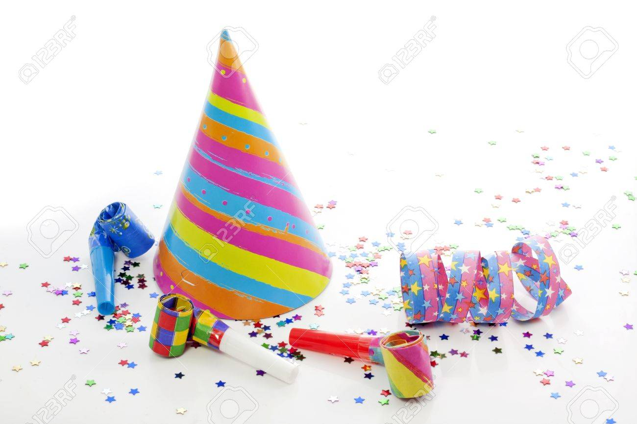 party birthday new year items on white background stock photo 14586771