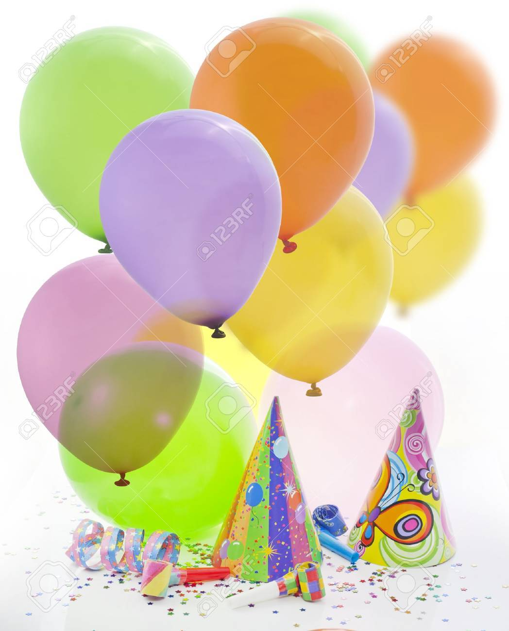 colorful party birthday new year background with balloons stock photo 14586781