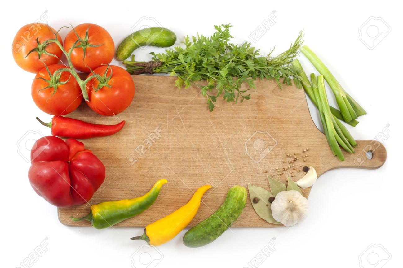 Captivating Vegetables And Spices Border And Empty Cutting Board Stock Photo   14901063