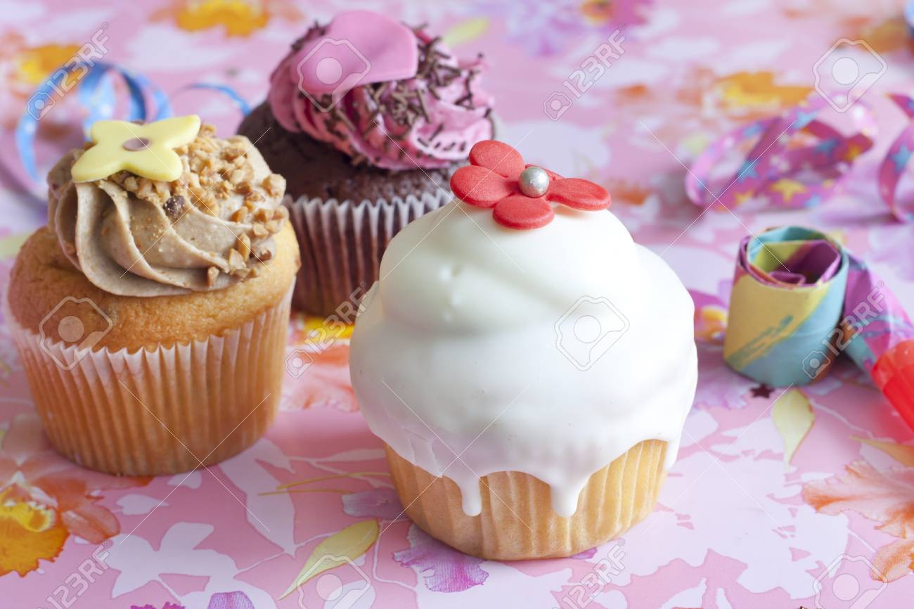 Birthday Muffins Party On Pink Background Stock Photo Picture And