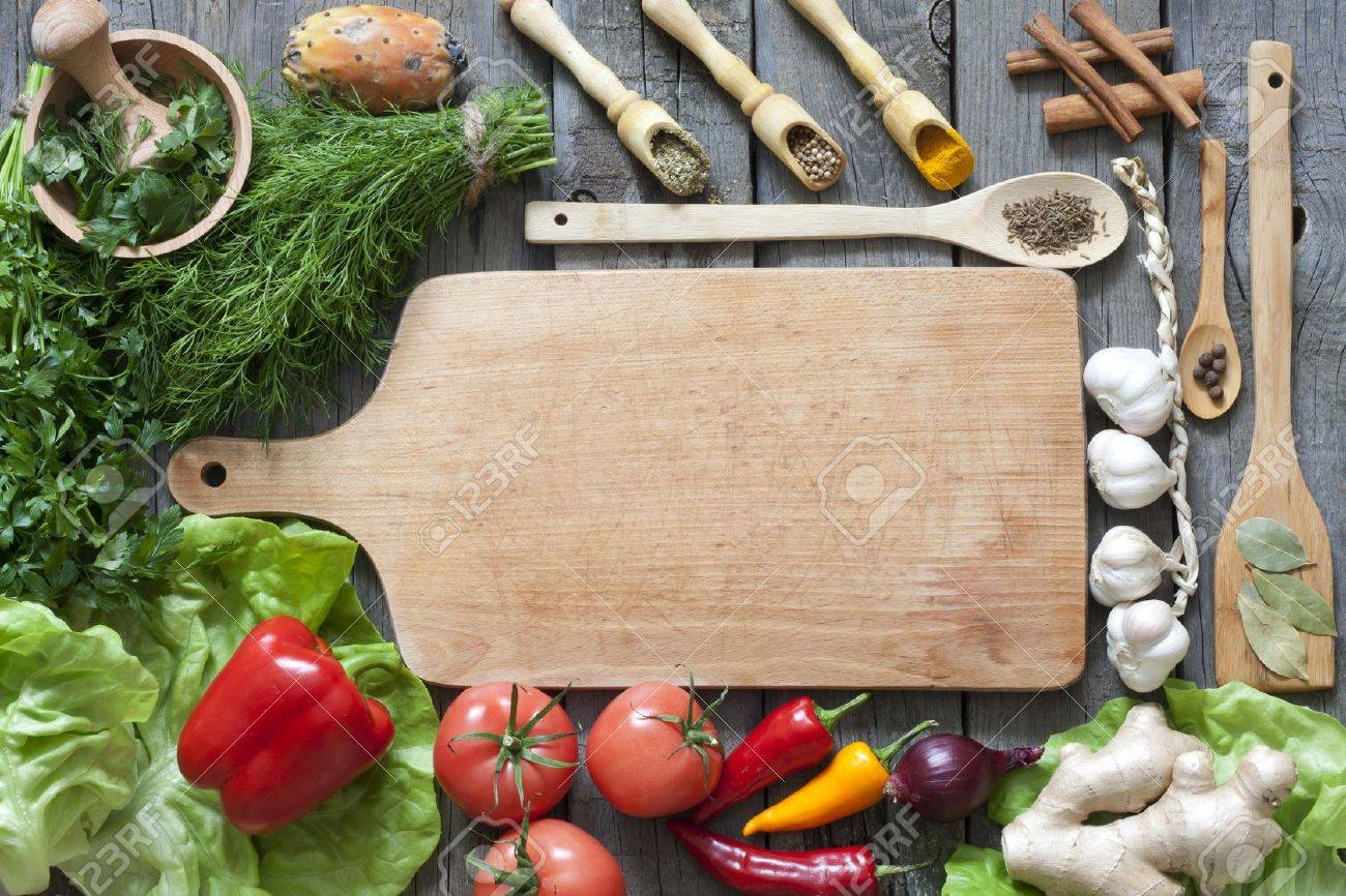 Marvelous Vegetables And Spices Vintage Border And Empty Cutting Board Stock Photo    15801829