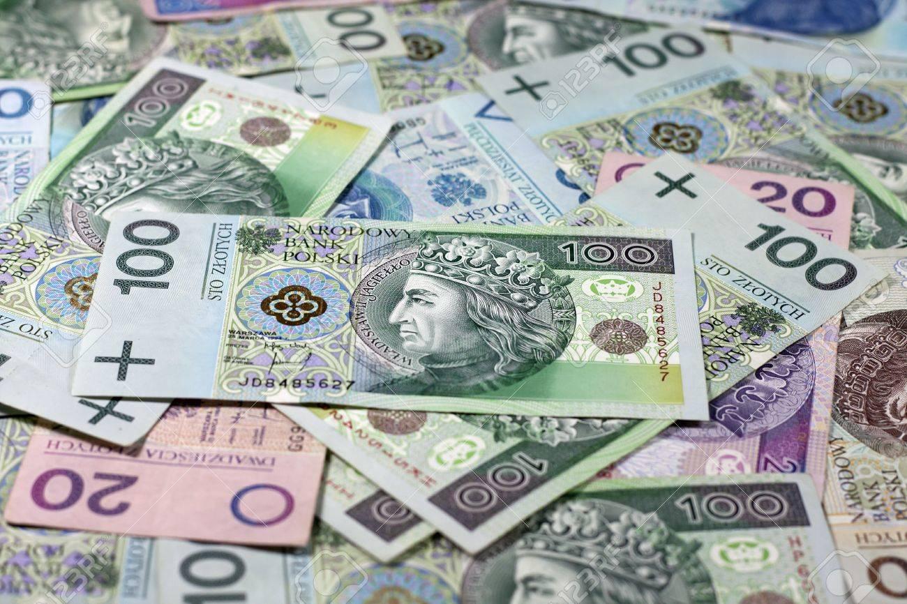 Polnisches Geld Münzen Und Banknoten Hintergrund Lizenzfreie Fotos